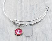 Bangle Bracelet with Handmade Resin Anchor Charm and White Maine Sea Glass