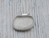 Bezel Set White Lake Erie Beach Glass Necklace in Sterling Silver