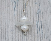 White Maine Sea Glass and Freshwater Pearls Stacking Necklace