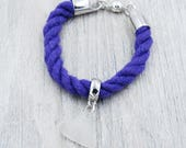 Purple Nautical Rope Bracelet with White Lake Erie Beach Glass