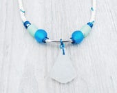 Rope Necklace with Maine Sea Glass and African Recycled Glass Beads