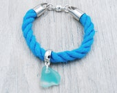 Light Blue Nautical Rope Bracelet with Light Blue Maine Sea Glass