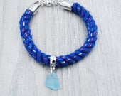 Blue Glitter Nautical Rope Bracelet with Light Blue Maine Sea Glass
