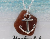 Brown Sea Glass and Anchor Charm Necklace