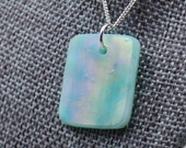 Seafoam Green Iridescent Stained Glass Necklace - Square