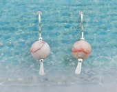 Pink Granite Ball Earrings in Sterling Silver