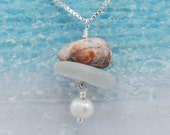 Lake Erie Beach Glass Stacking Necklace with Freshwater Pearl and Pink Granite Pebble