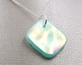Seafoam Green Iridescent Stained Glass Necklace - Diamond