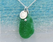 Kelly Green Lake Erie Beach Glass Necklace with Tiny Ohio Charm Accent