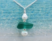 Teal Blue Maine Sea Glass Stacking Necklace with Freshwater Pearls