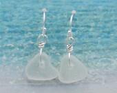 White Lake Erie Beach Glass Earrings - Medium