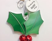 Holly Leaf and Jingle Bell Stained Glass Ornament