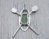 Olive Green Lake Erie Beach Glass Kayak Necklace in Sterling Silver