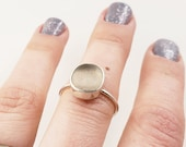 Pale Pink Lake Erie Beach Glass Bezel-set Ring in Sterling Silver, Size 7