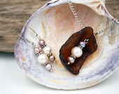 Maine Sea Glass and Freshwater Pearl Necklace + Earrings Set