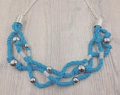 Light Blue Three Strand Rope Necklace