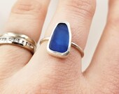 Blue Maine Sea Glass Bezel-set Ring in Sterling Silver, Size 6