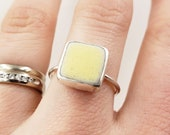 Yellow Lake Erie Beach Tile Bezel-set Ring in Sterling Silver, Size 8