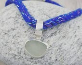Blue Glitter Rope Necklace with Bezel Set Lake Erie Beach Glass