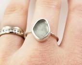 Seafoam Green Lake Erie Beach Glass Bezel-set Ring in Sterling Silver, Size 8