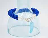 Blue Twisted Rope Bracelet with Light Blue Sea Glass Accent