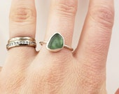 Olive Green Lake Erie Beach Glass Bezel-set Ring in Sterling Silver, Size 9