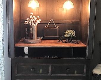 SOLD Wine Bar Cabinet Armiore In Distressed Black, Dresser, Liquor Cabinet,  Storage