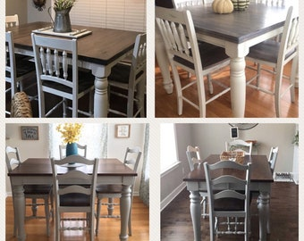 custom order refinished farmhouse table and chairs dining table counter height kitchen table - Farmhouse Counter Height Table