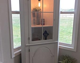 Custom Corner Cabinet Hutch With Light White Farmhouse Corner Cabinet, Wood  Cabinet, Corner Unit, Curio