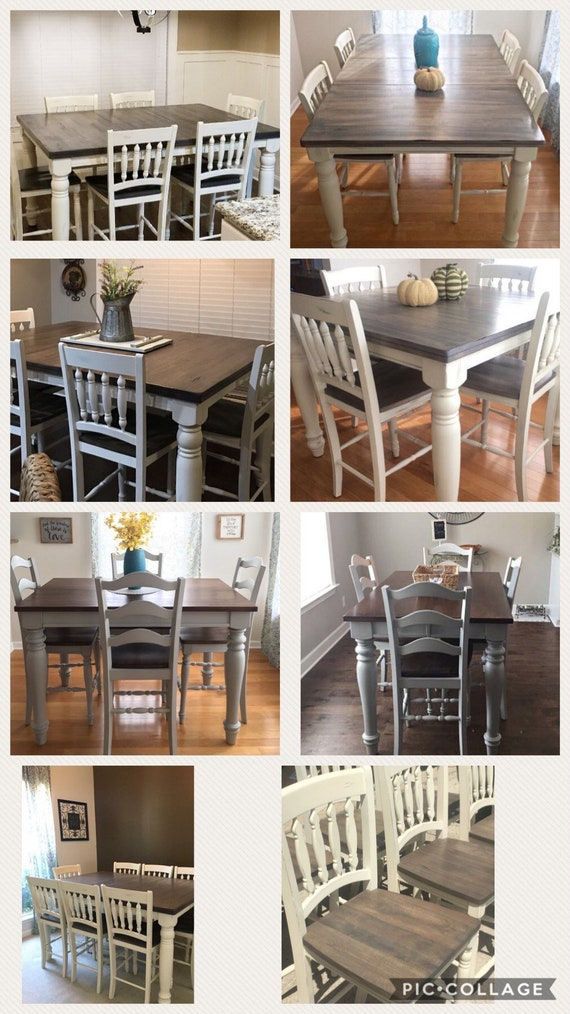 Farmhouse Table And Chairs Dining Table Counter Height Kitchen Table
