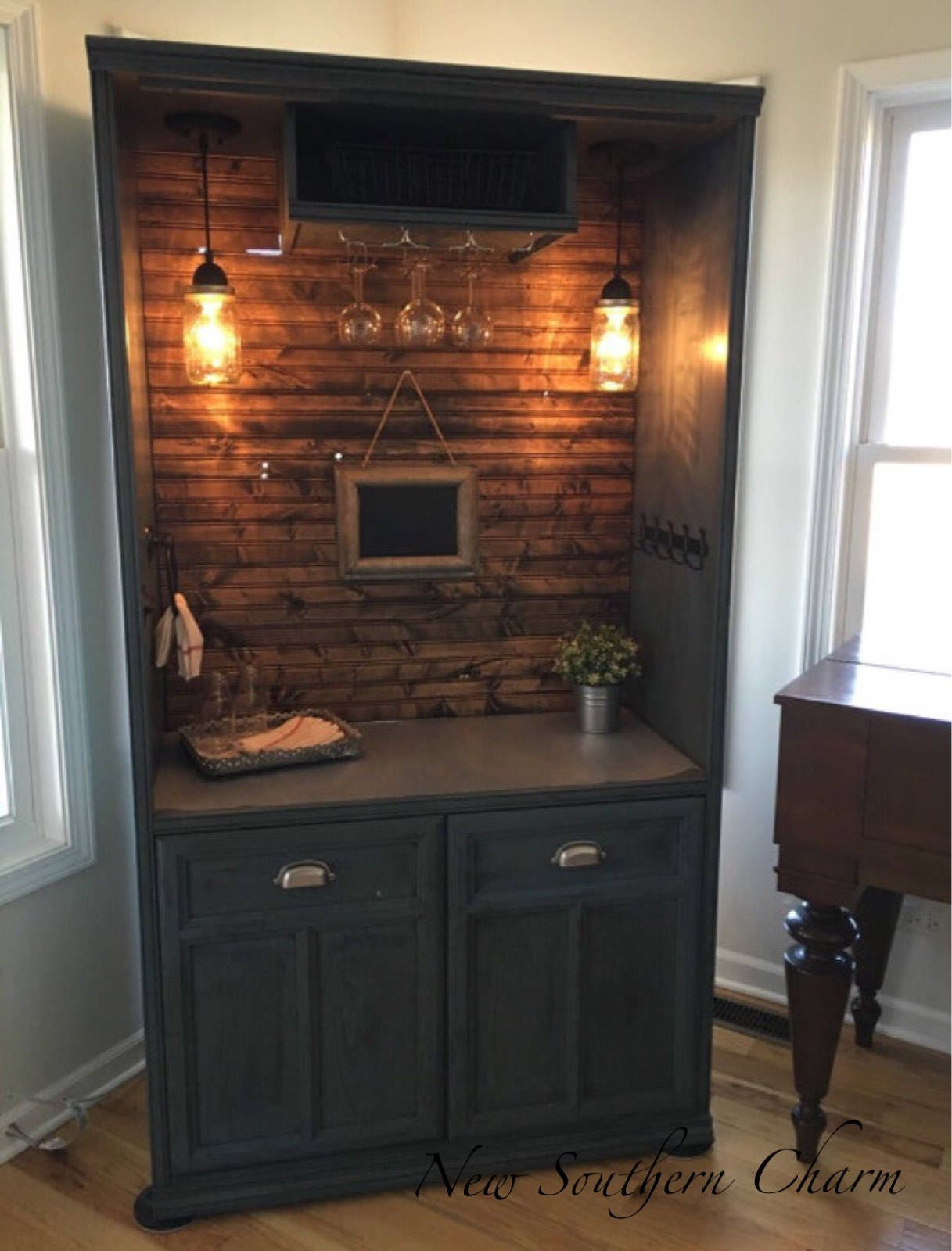 Armoire Bar Cabinet Coffee Bar Station Bar Repurposed | Etsy