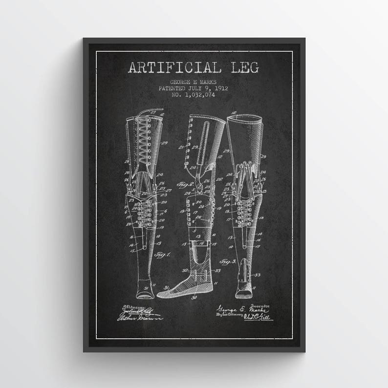 1912 Artificial Leg Patent Print Doctors Office Decor image 0