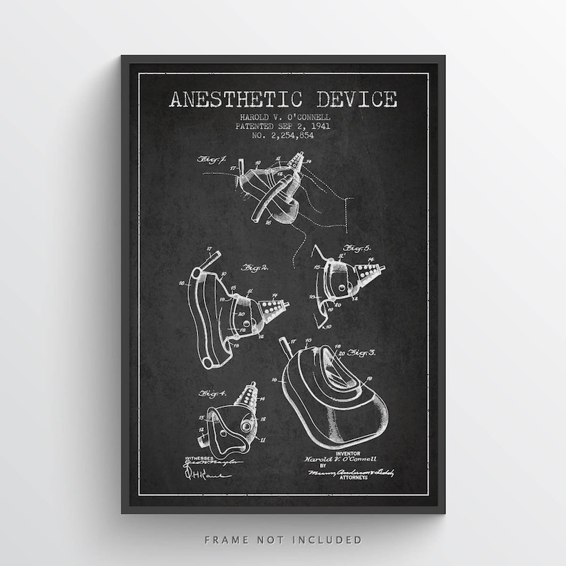 1941 Anesthetic Device Patent Art Print Medical Patent image 0