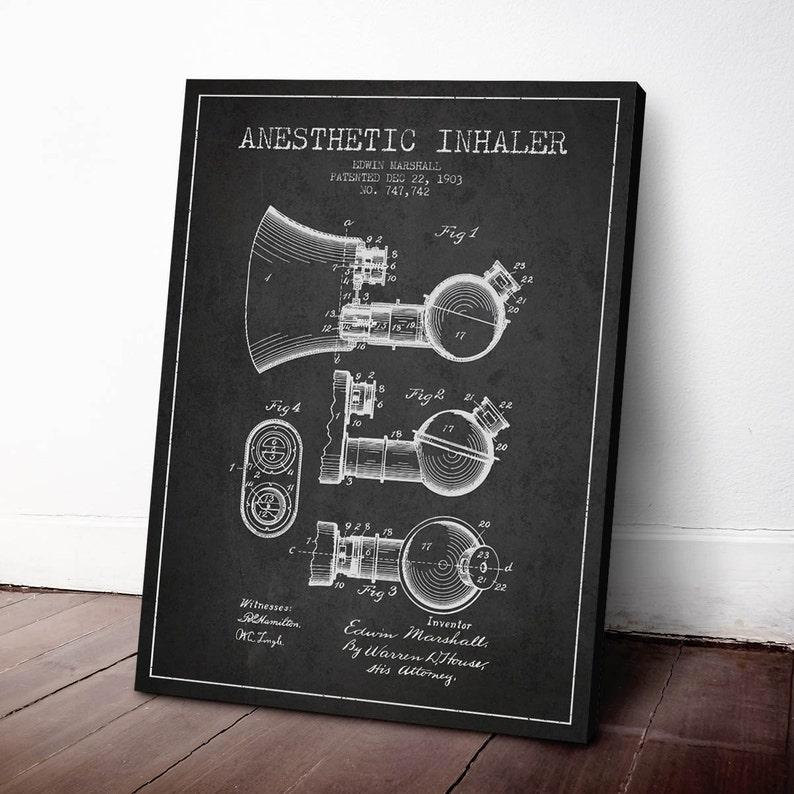 1903 Anesthetic Inhaler Patent Canvas Art Print Medical image 0