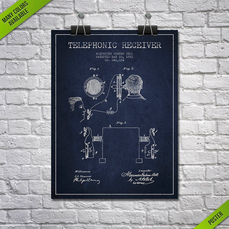 1881 Alexander Bell Telephonic Receiver Patent Poster Patent image 0