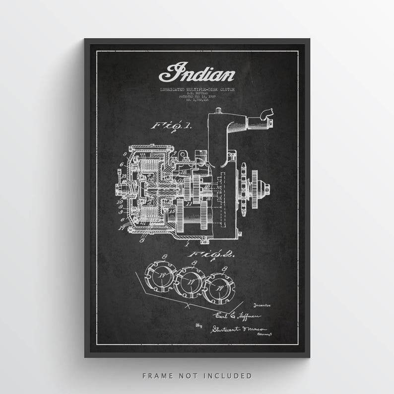 1929 Indian Motorcycle Patent Wall Art Poster Indian Poster image 0