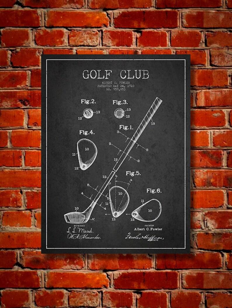 1910 Golf Club Patent Canvas Print  Wall Art Home Decor image 0