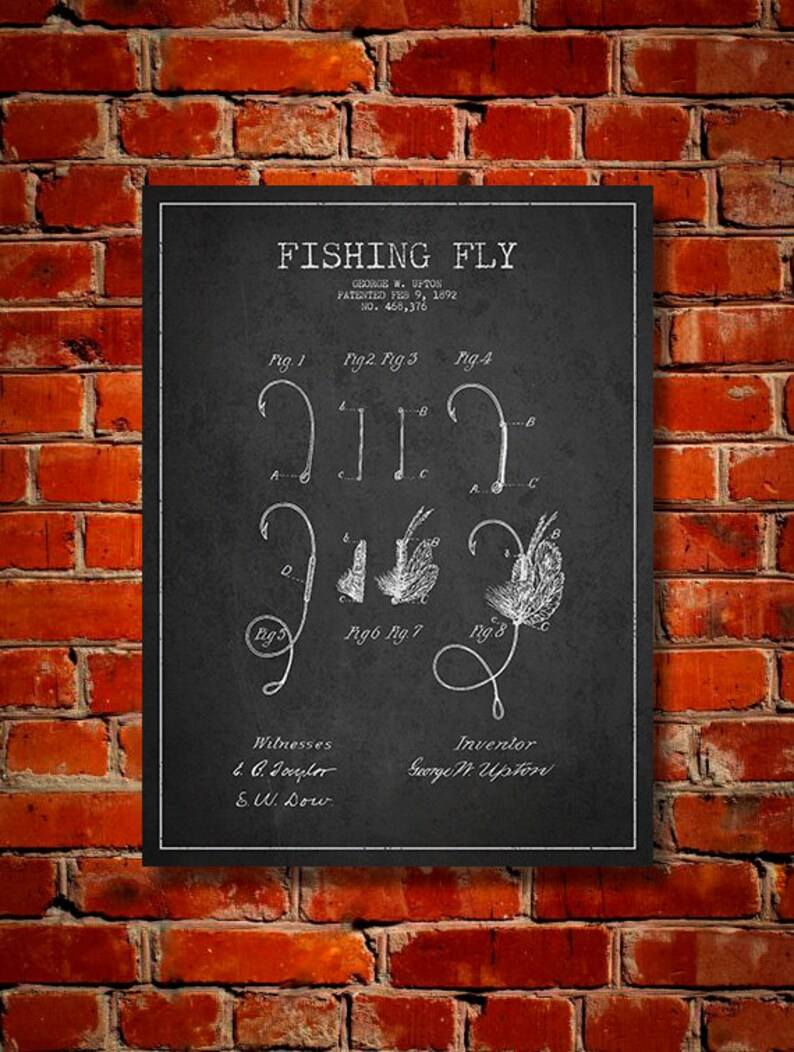 1892 Fishing Fly Patent Canvas Print Wall Art Home Decor image 0