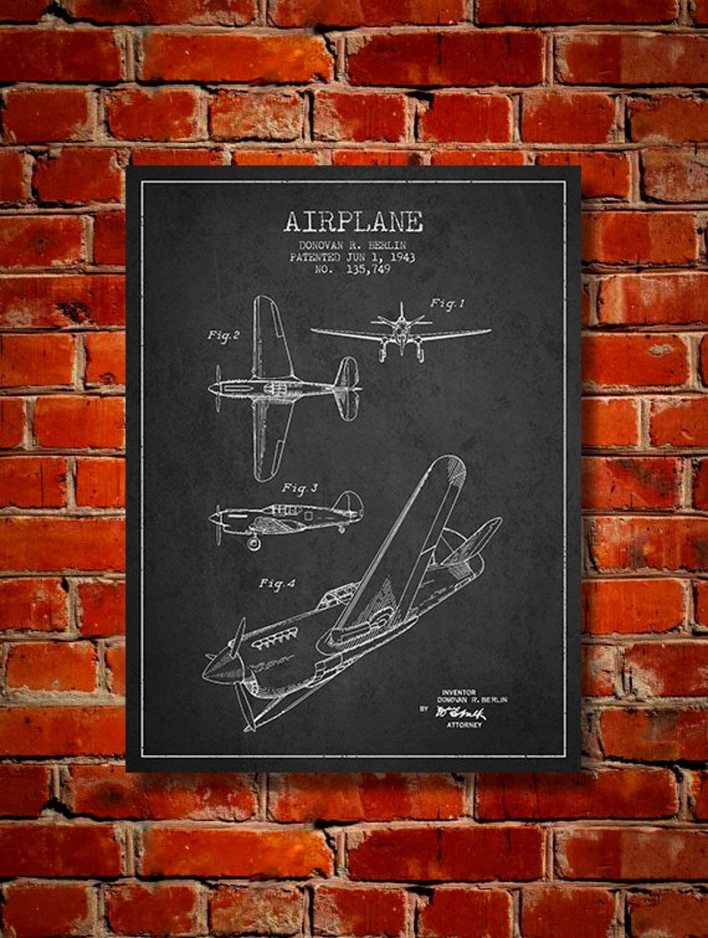 1943 Airplane Patent Canvas Print Wall Art Home Decor Gift image 0