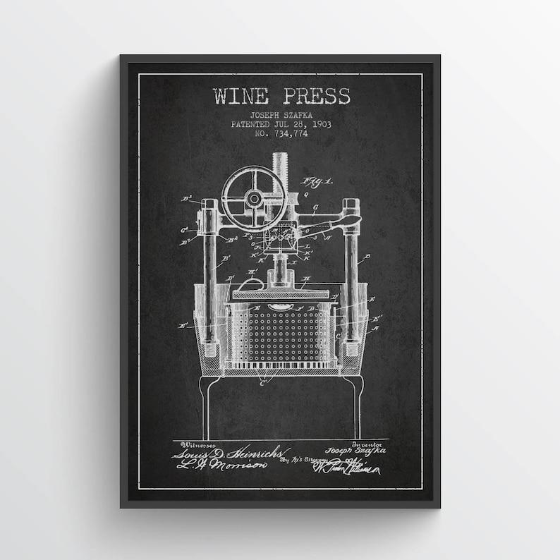 1903 Wine Press Patent Poster Wine Poster Vintage Wine image 0