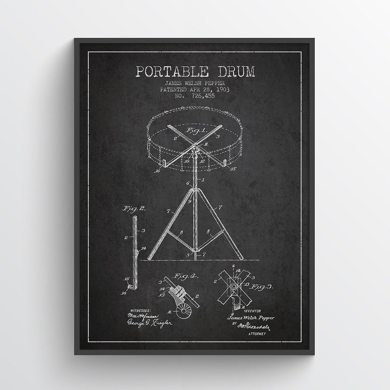 1903 Drum Patent Wall Art Poster Drum print Drum Poster image 0