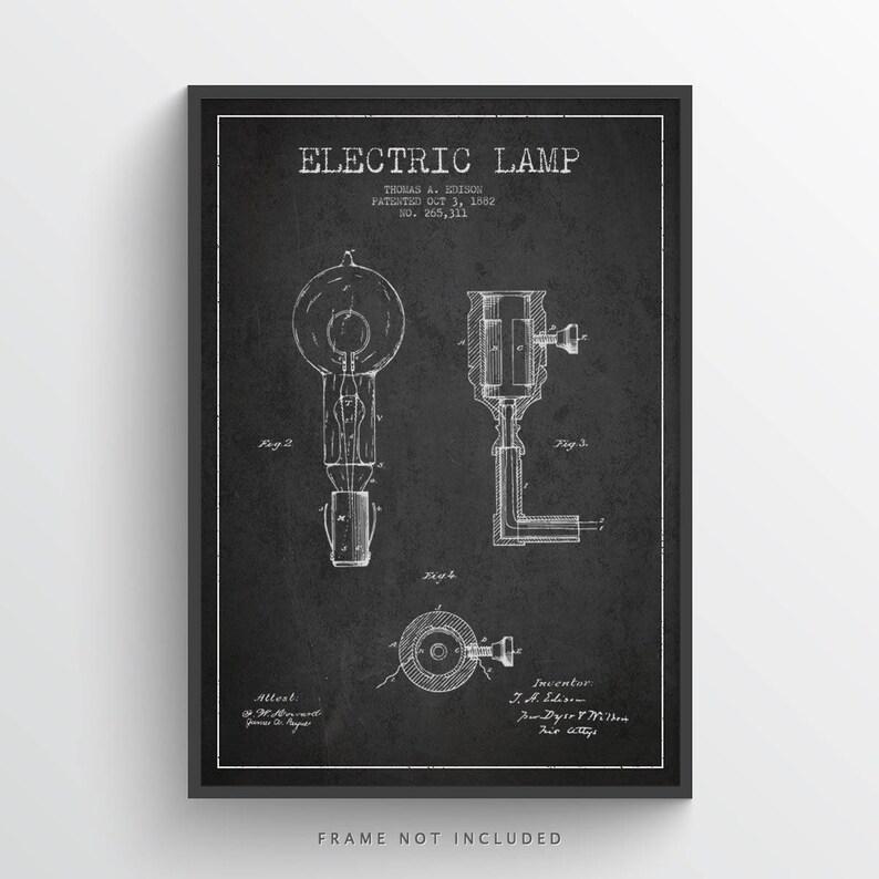 1882 Thomas Edison Electric Lamp Patent Poster Patent Art image 0