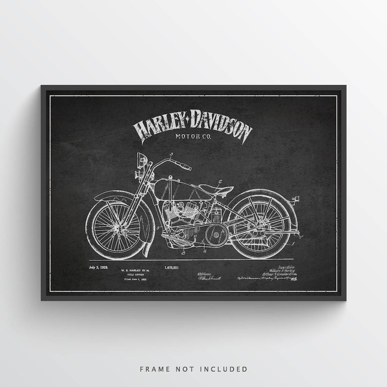 1928 Harley Davidson Patent Wall Art Poster Harley Davidson image 0