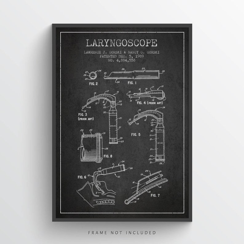 1964 Laryngoscope Art Print Medical Patent Laryngoscope image 0