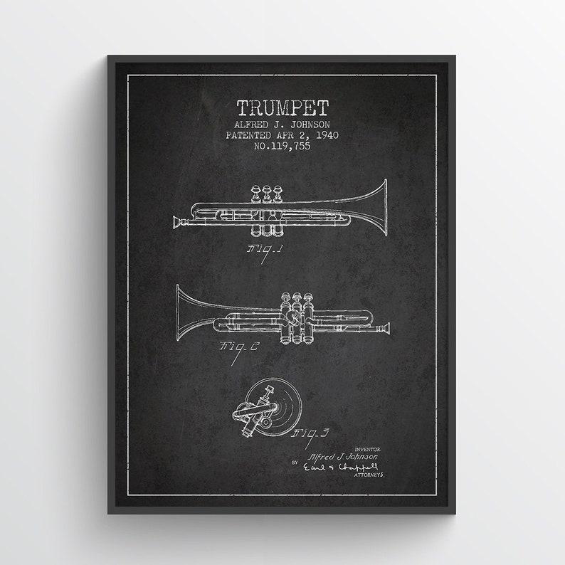 1940 Trumpet Patent Wall Art Poster Trumpet Print Vintage image 0