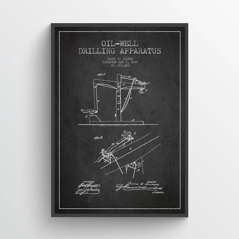 1878 Oil Well Drilling Apparatus Patent Wall Art Poster Pump image 0