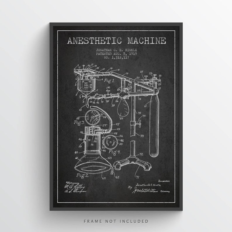 1919 Anesthetic Machine Patent Art Print Medical Patent Home image 0