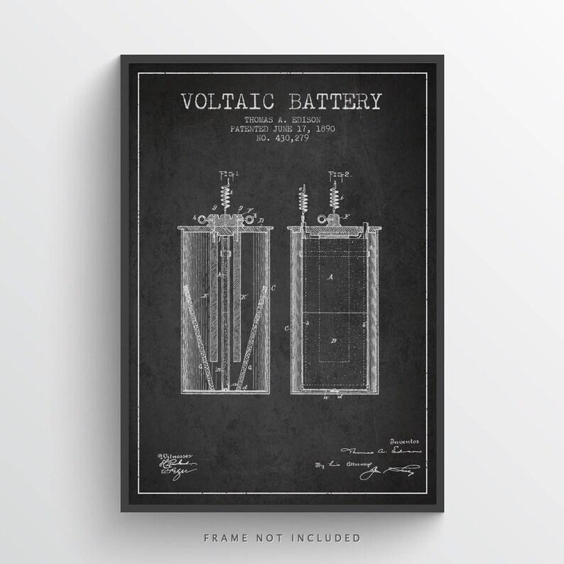1890 Thomas Edison Voltaic battery Patent Poster Patent Art image 0