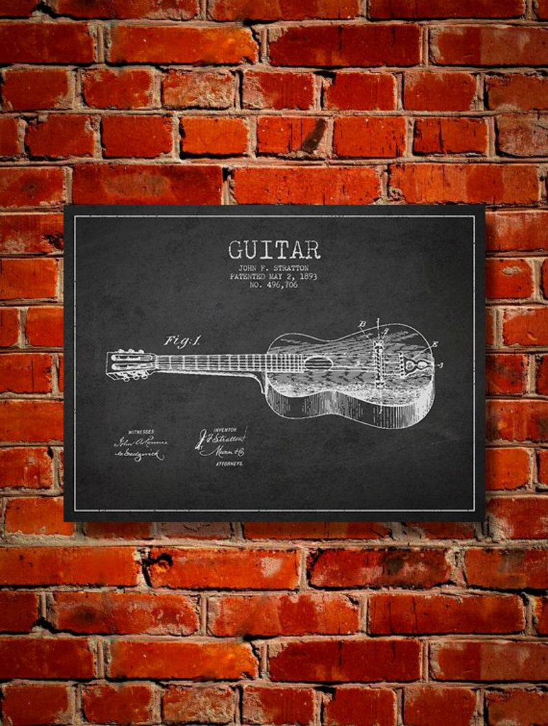 1893 Guitar Patent Canvas Print Wall Art Home Decor Gift image 0