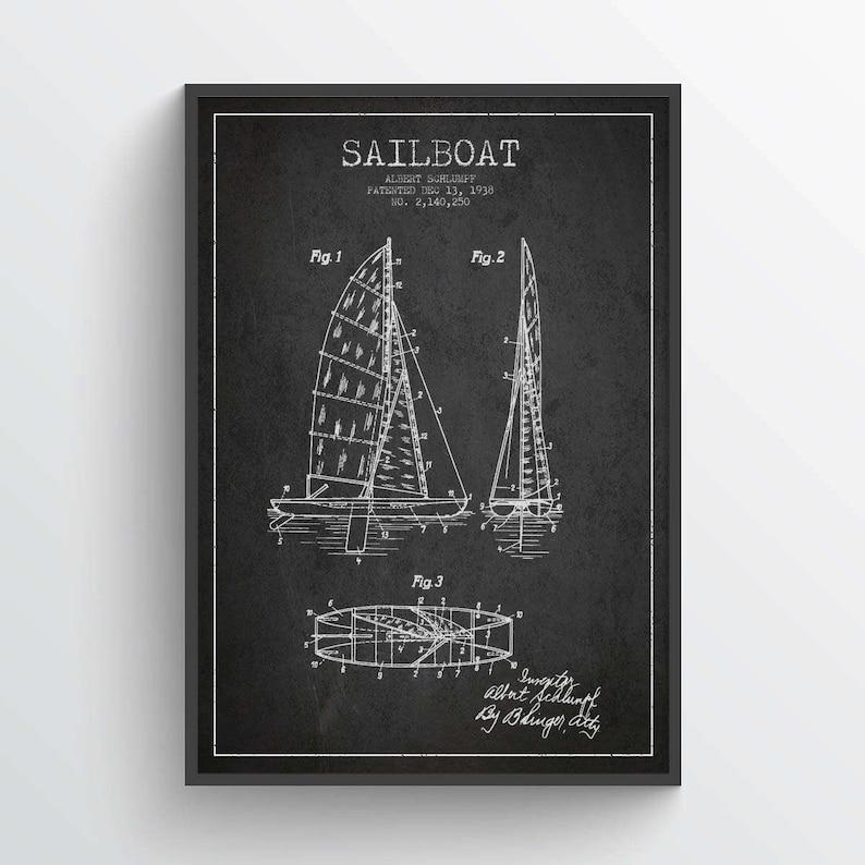 1938 Sailboat Patent Poster Sailboat print Sailboat Poster image 0